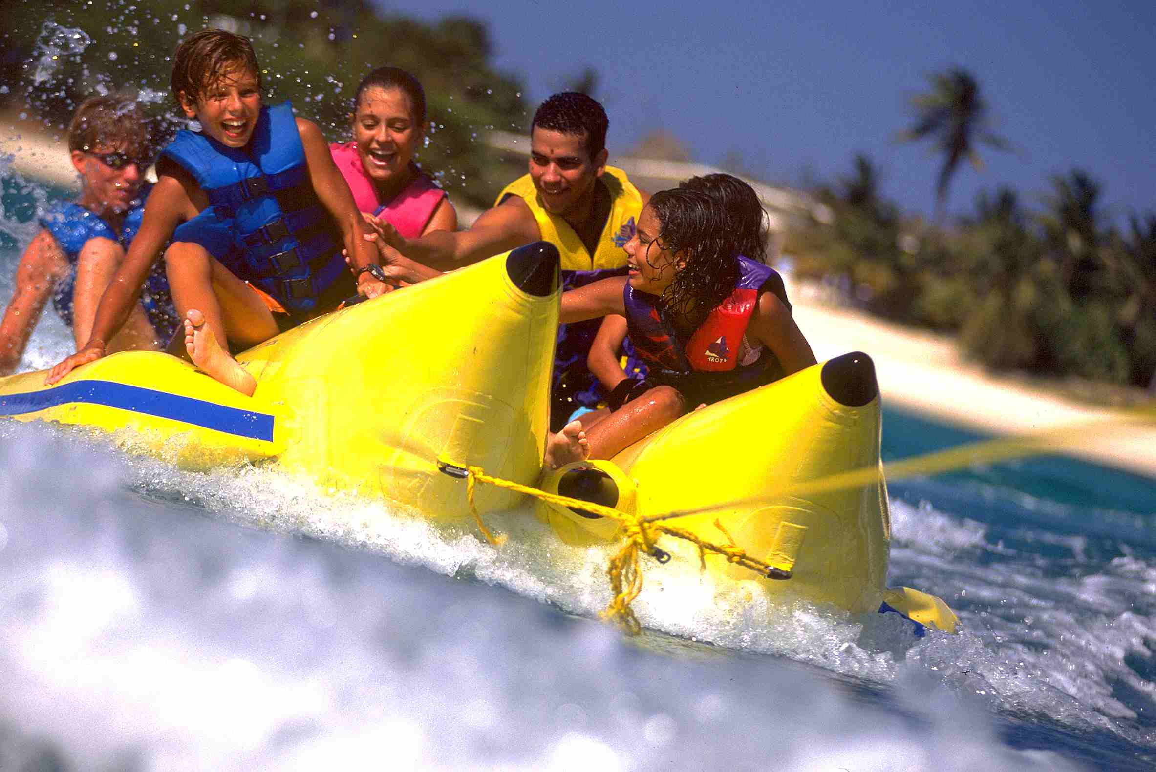 Banana boating off the shore of Aruba.