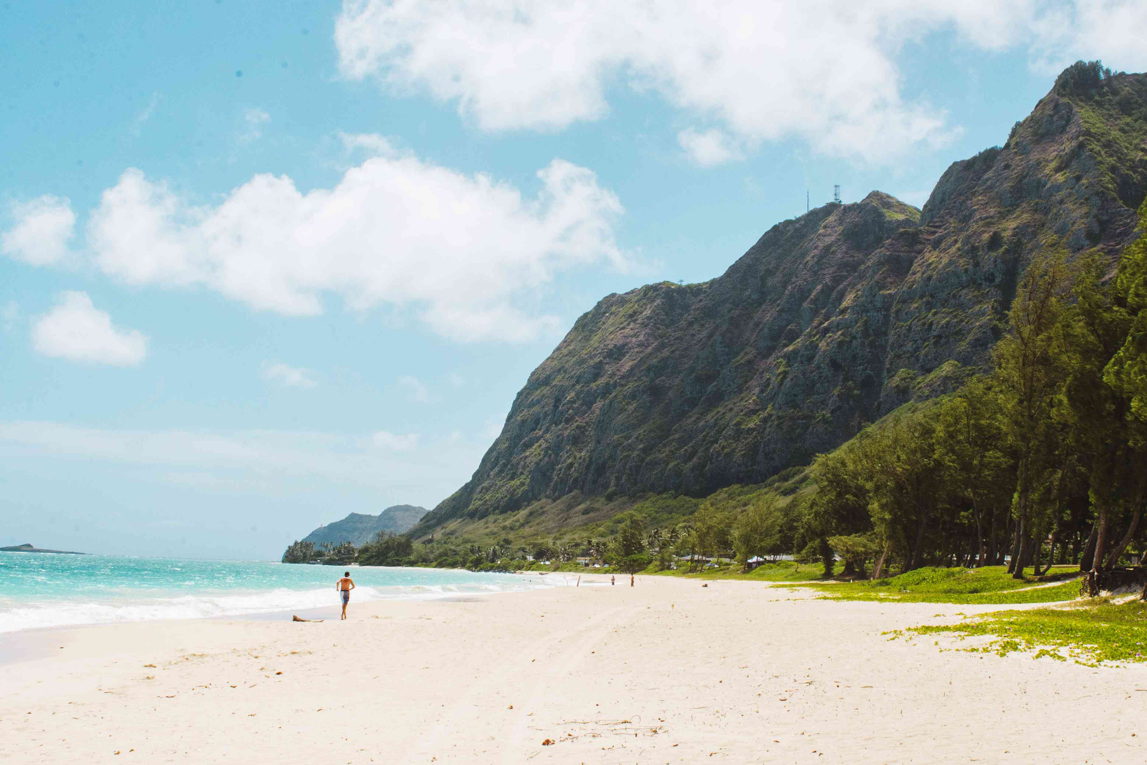 Waimanalo Beach with mountains in the background