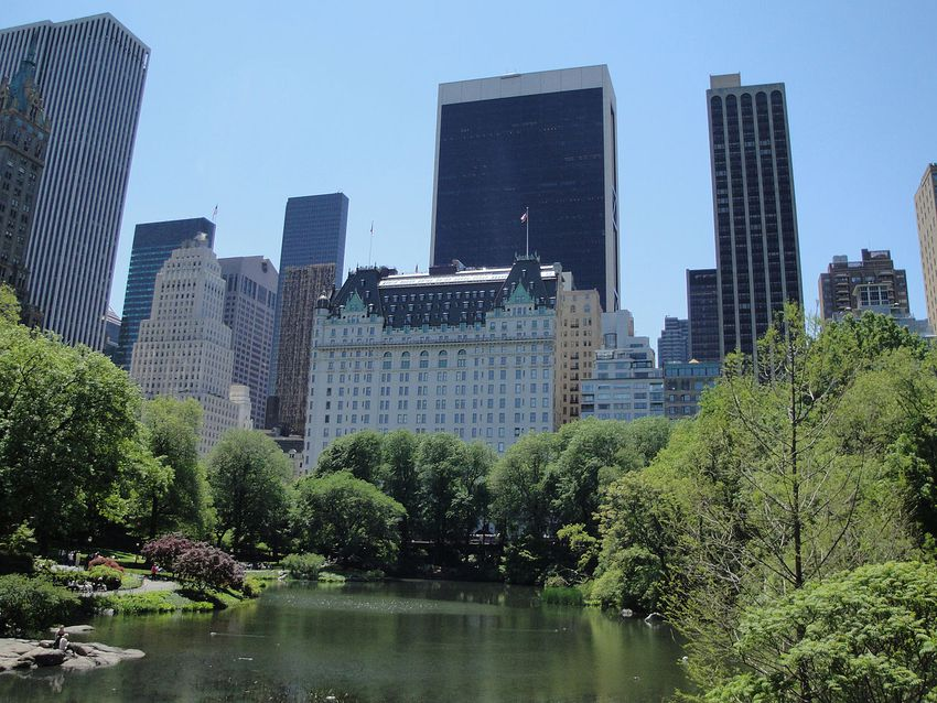 The Plaza Hotel as seen from Central Park.