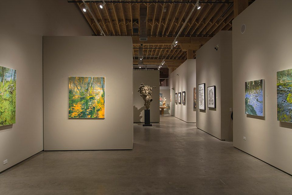 Showing room at EVOKE Contemporary gallery in Santa Fe