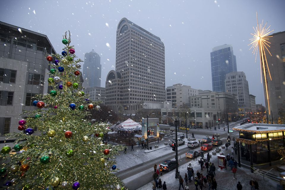 Snow and Holiday Decorations in Downtown Seattle