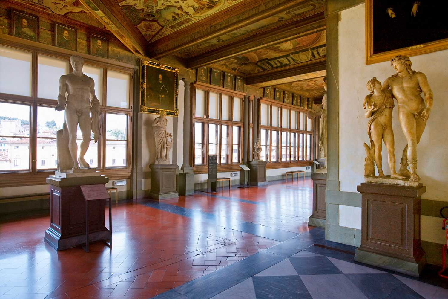 Statues on display in the Uffizi Gallery