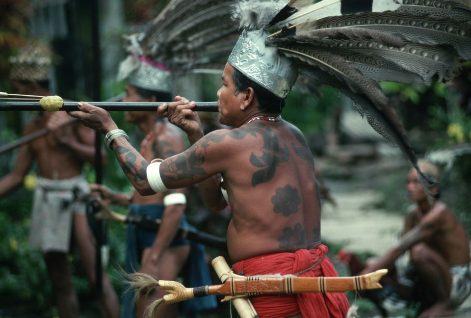 An Iban warrior practices with blowgun