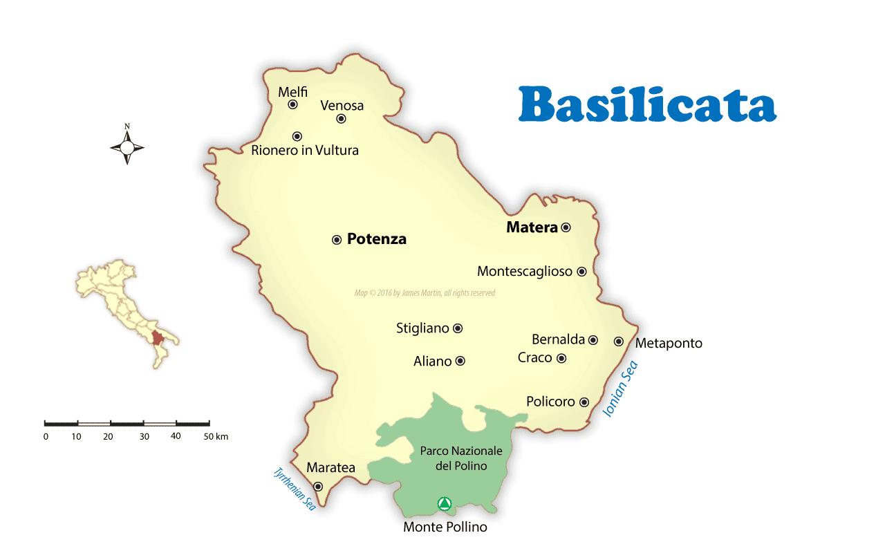 Mapa de Basilicata que muestra ciudades para visitar