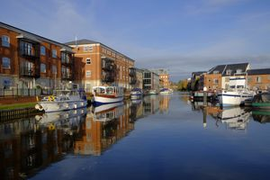 Diglis canal basin at the junction of the Worcester and Birmingham Canal