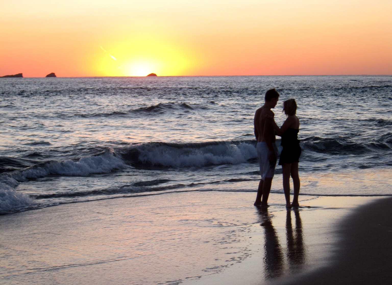 Sunset in Ibiza in summer