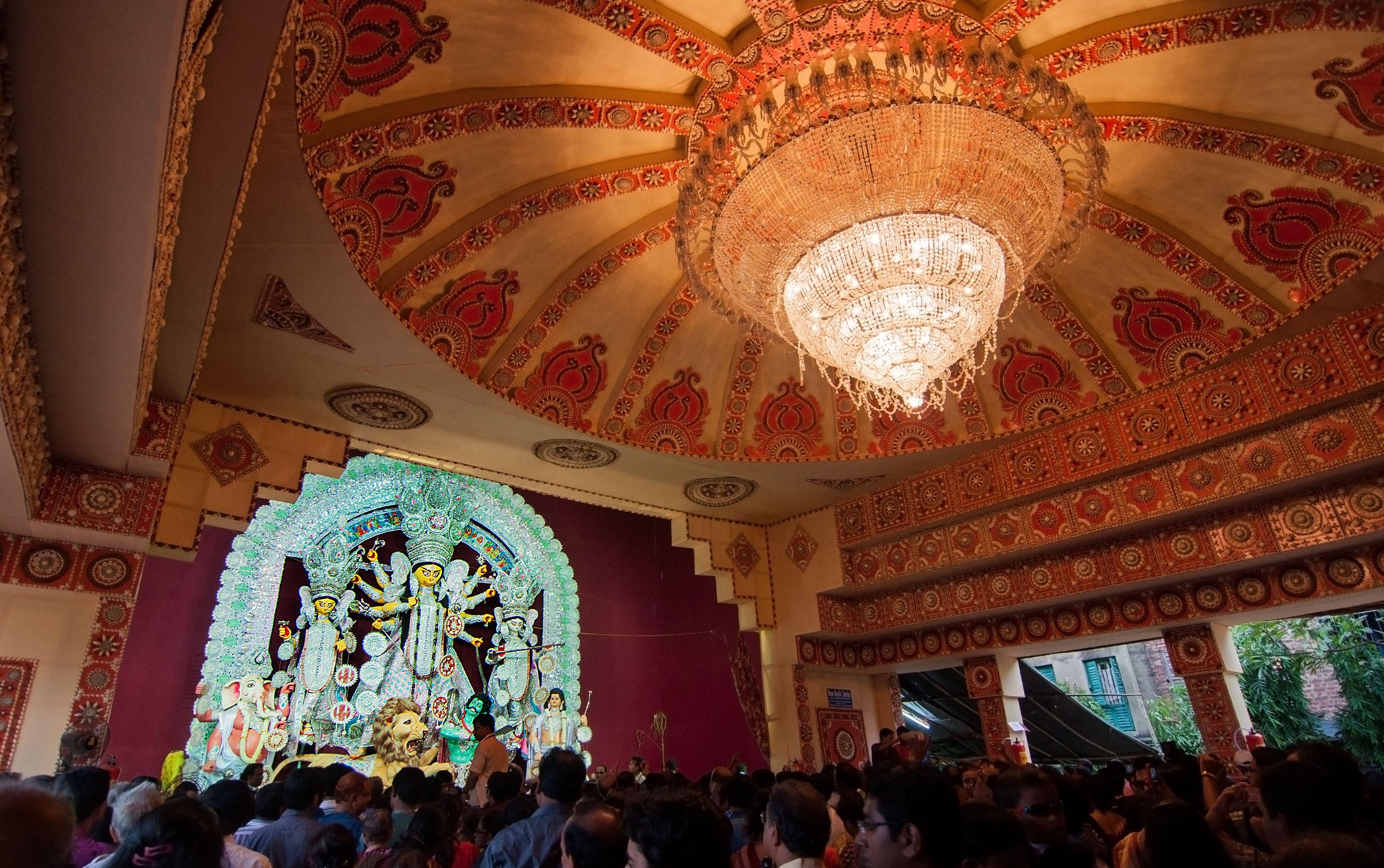 Traditional Durga Puja pandal.