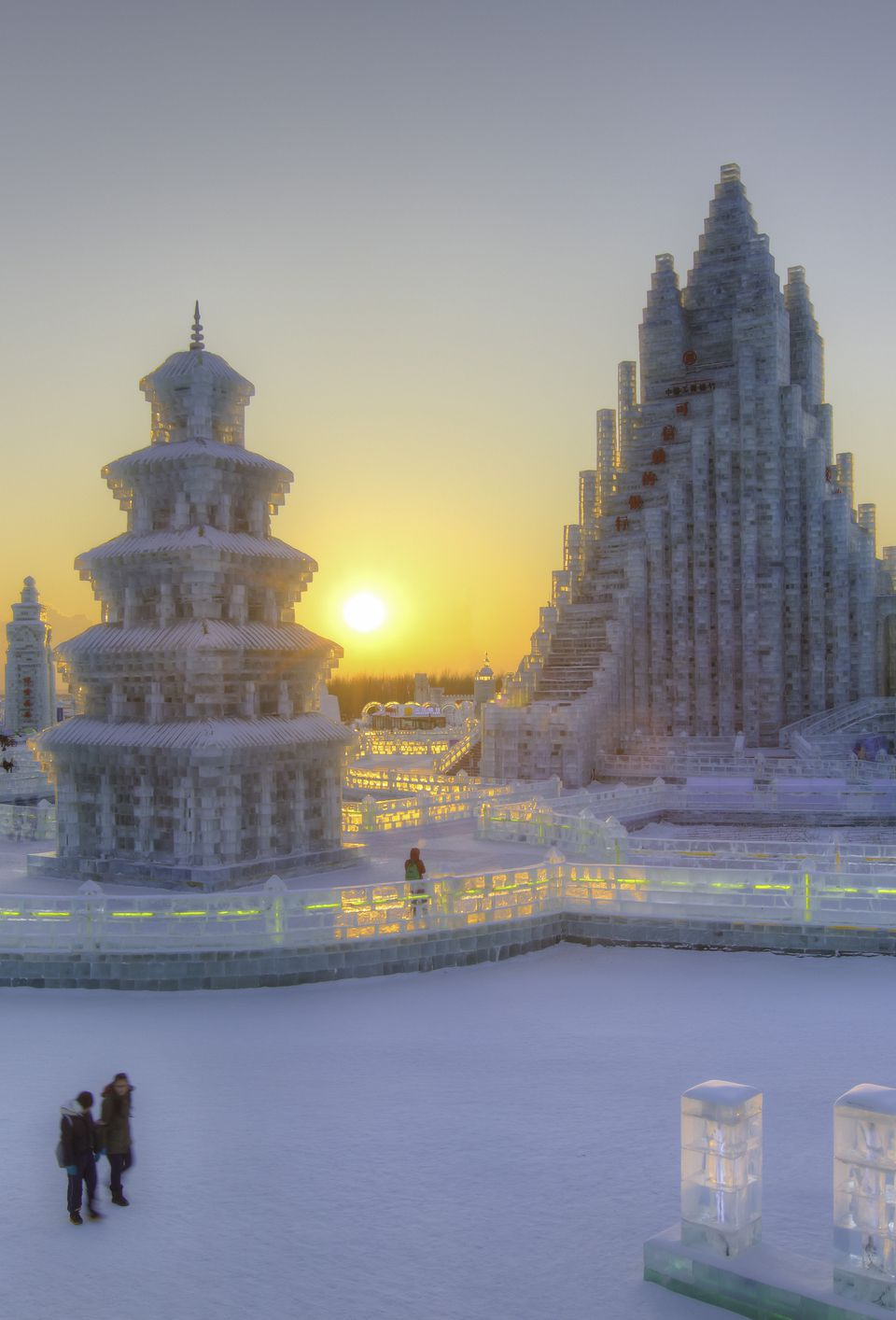 China, Harbin, Heilongjiang Province, Spectacular illuminated ice sculptures at Harbin Ice and Snow Festival