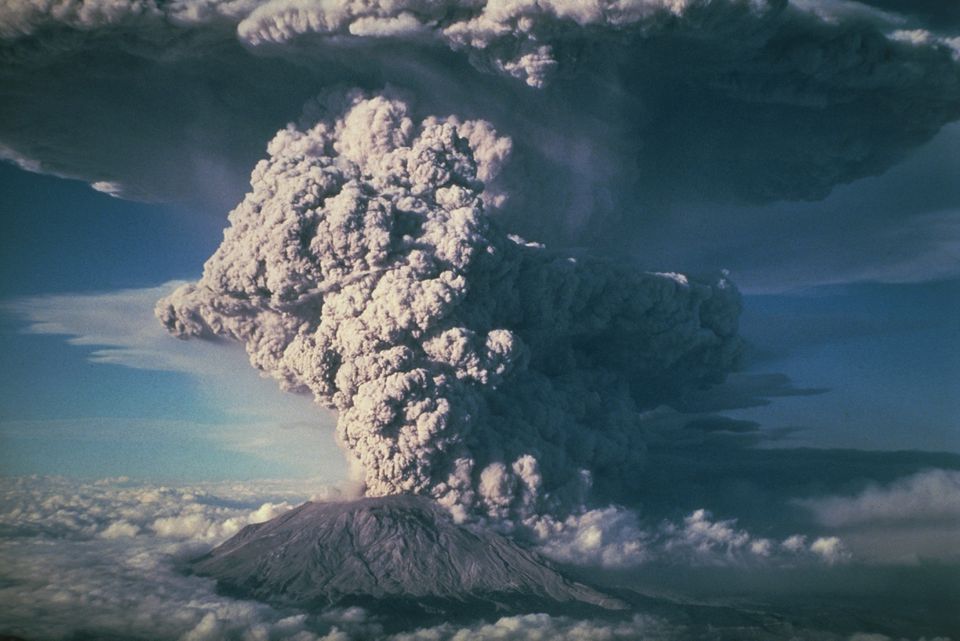 Plinian column of ash, hot gases and pulverised rock from Mount Saint Helens