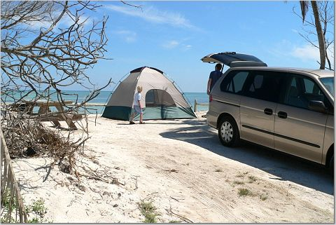 Oceanfront camping at Long Key State Park in the Florida Keys.