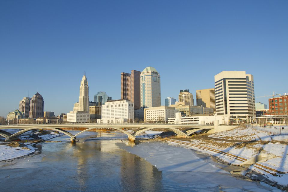 Columbus Ohio skyline in the winter