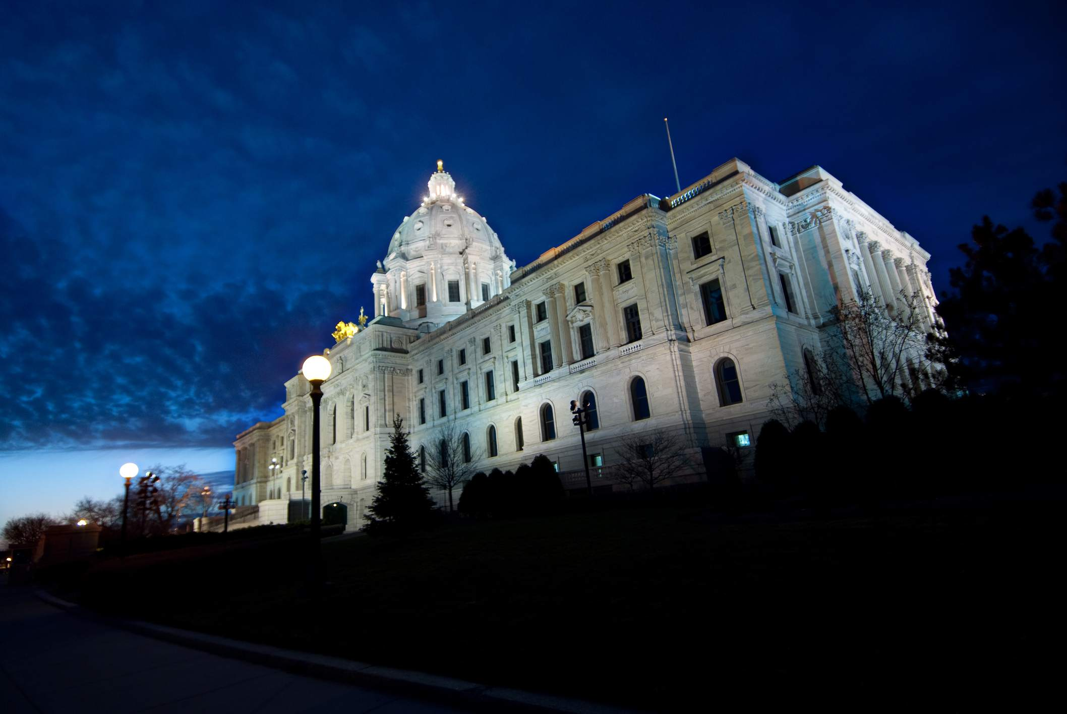 St. Paul Minneapolis state capitol building at dusk