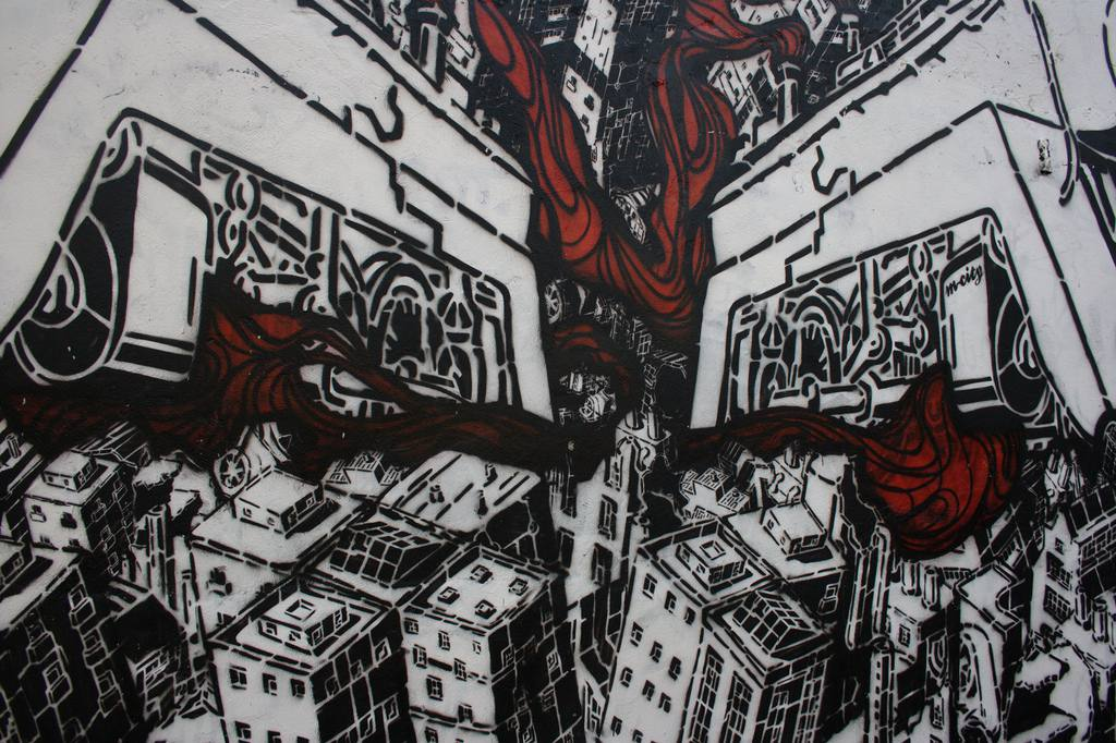 black and white graphic murals with red accents in Belleville