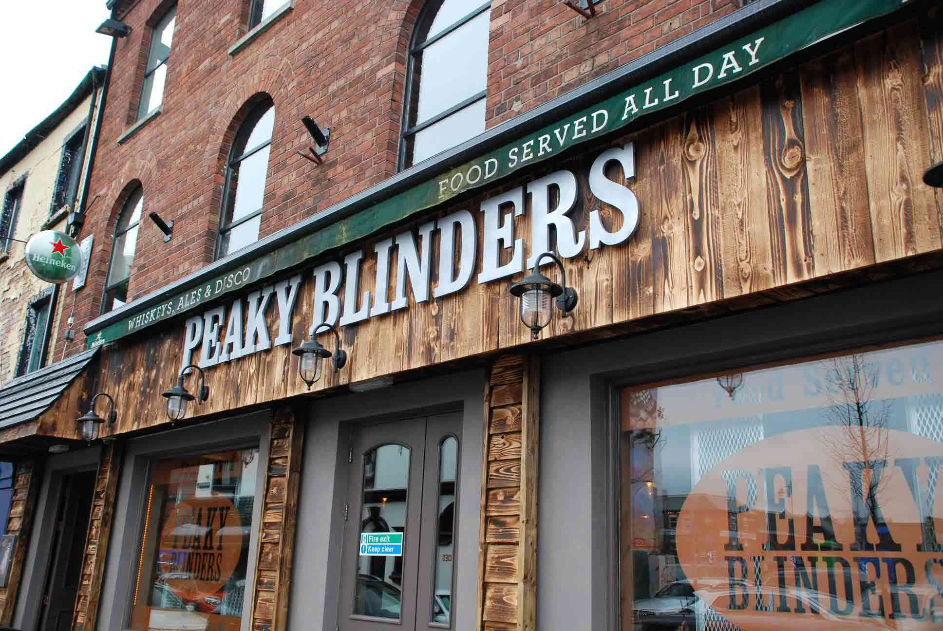 Peaky Blinders wood covered pub