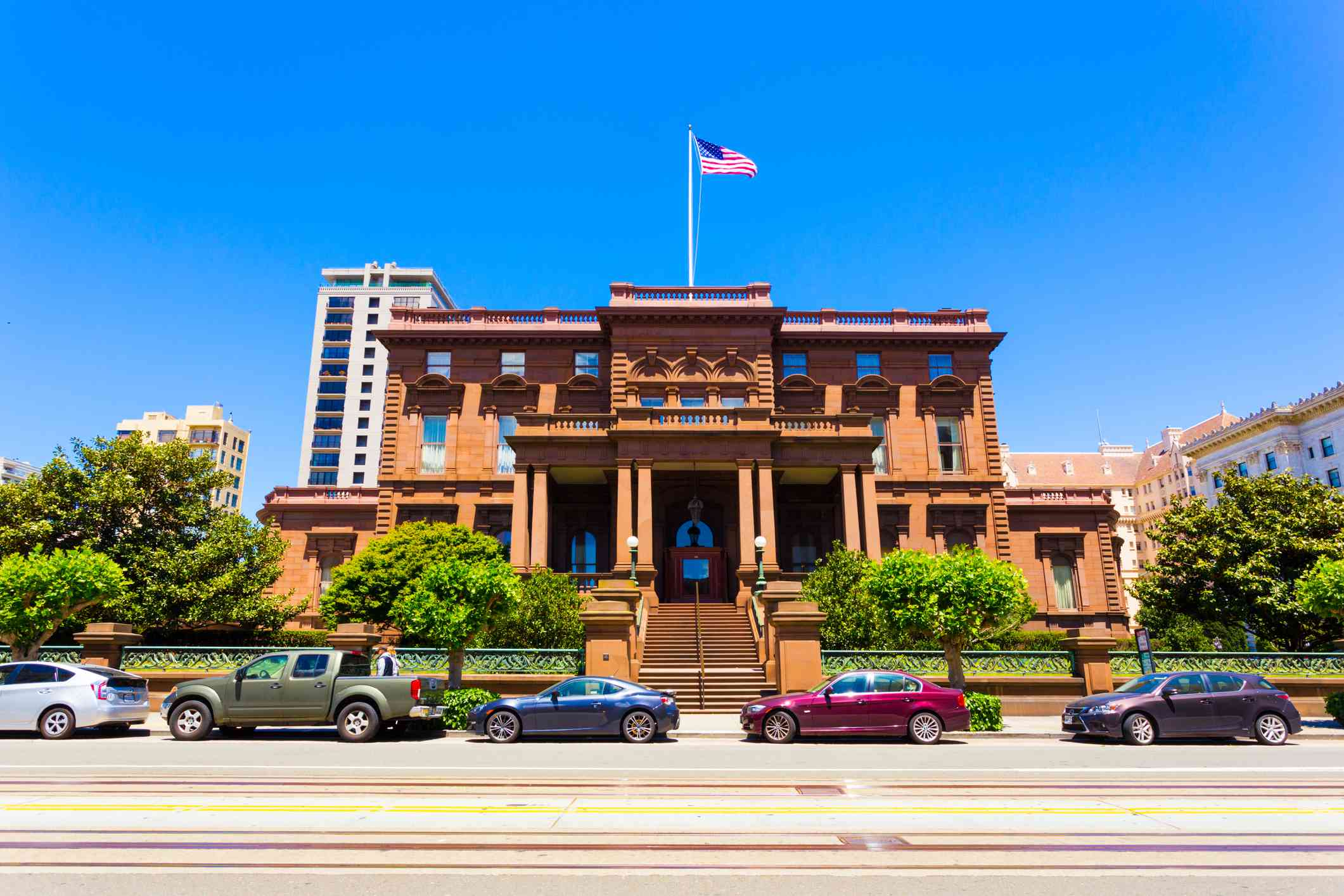 Historic brownstone house, the former Flood Mansion is home to Pacific-Union Club on California Street on Nob Hill in sunny San Franciscp
