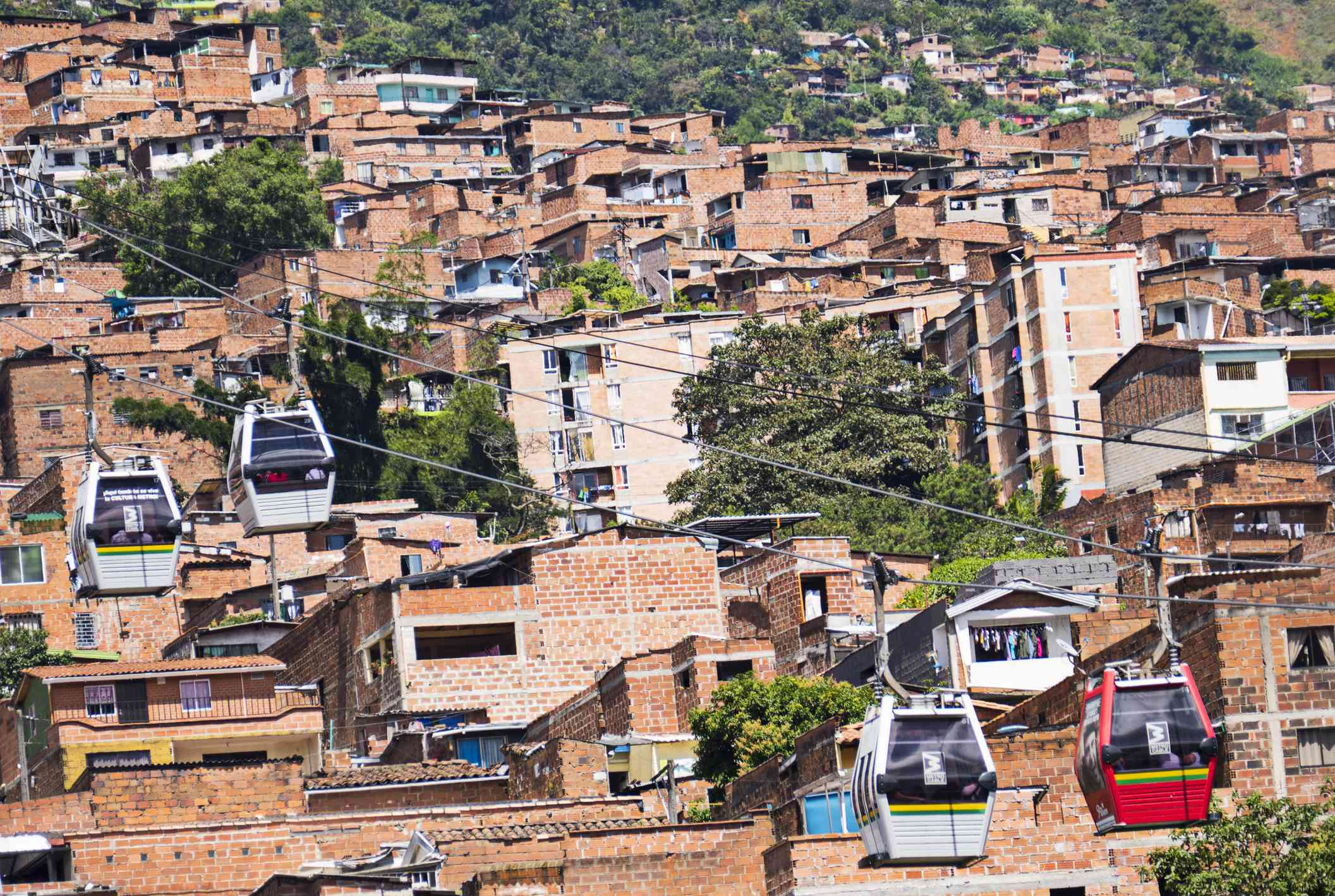 Metro Cable Cars in Medellin Colombia that run from the mountains to the city