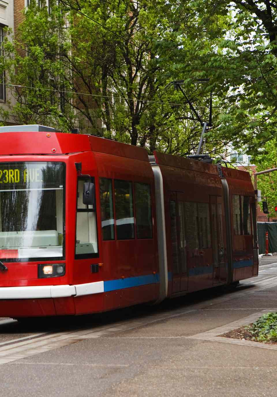 Red Portland Streetcar going through town
