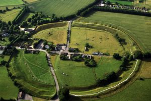 Aerial image of Avebury, Neolithic Monument, site of a large henge and several stone circles, UNESCO World Heritage Site, Wiltshire, England, United Kingdom, Europe