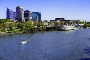 Sacramento skyline and riverfront on the Sacramento River.