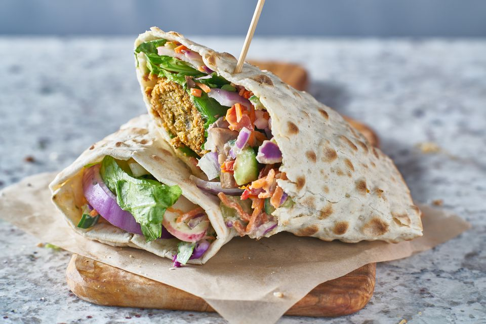 Vegan food—tasty falafel wrap