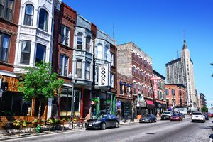 Shops on Milwaukee Avenue in Wicker Park, Chicago