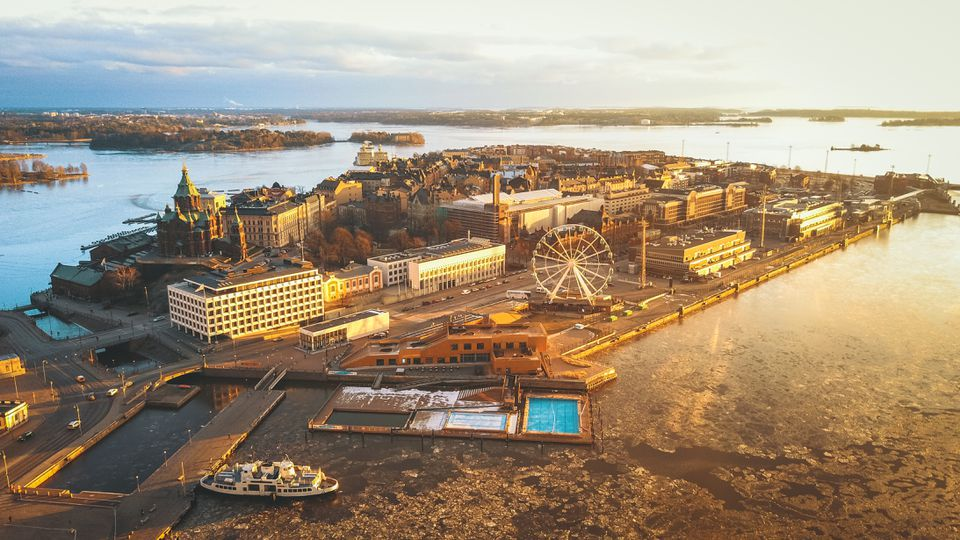 Aerial view of Katajanokka Island and cityscape at sunrise, Helsinki, Finland