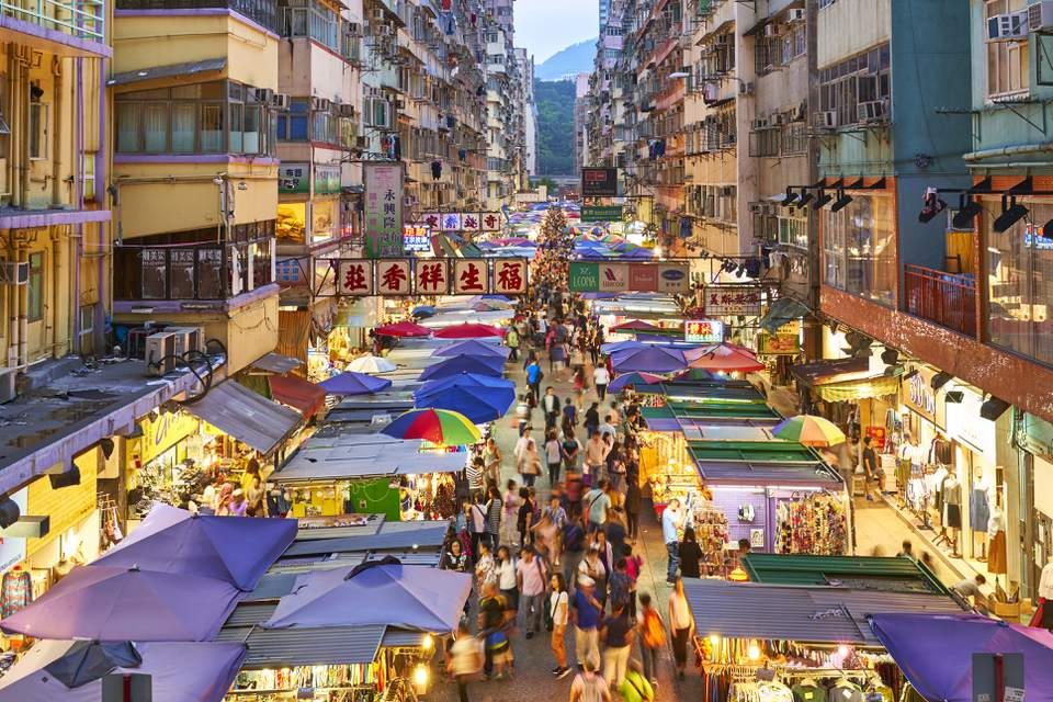 Busy market in Mong Kok, Kowloon, Hong Kong