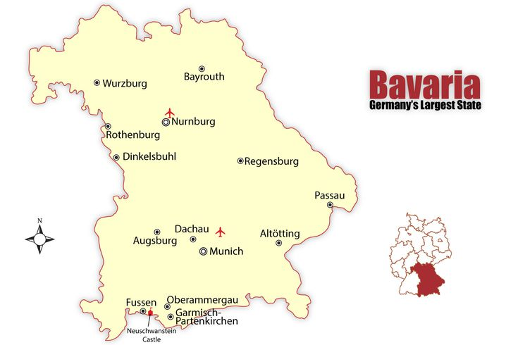 Map Of Germany Showing Munich.Bavaria Map And Travel Guide