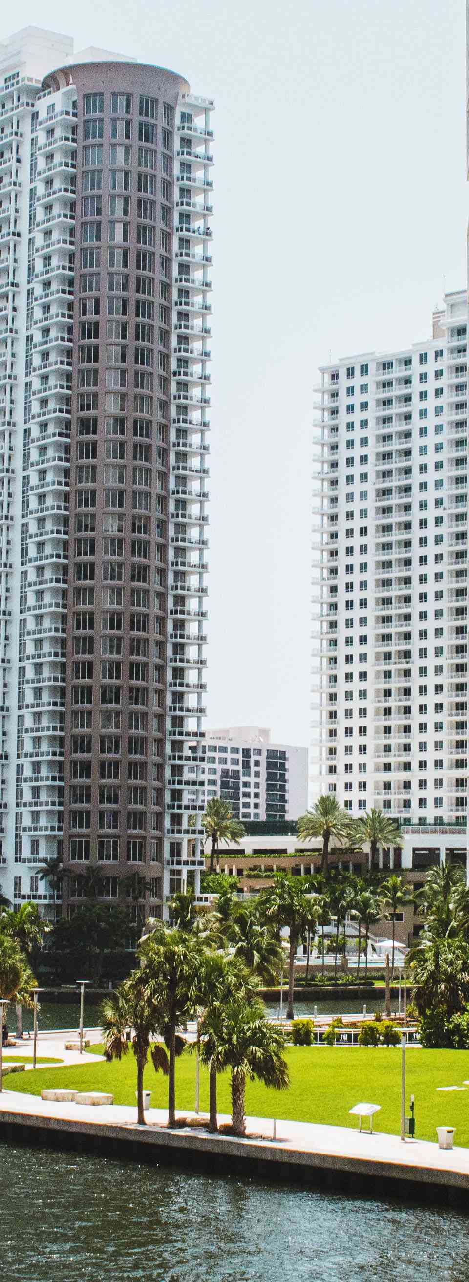 A view of Brickell Skyscrapers on the bay