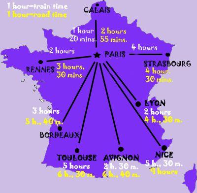 Mapa de Francia - Tiempos de viaje de París a otras ciudades francesas