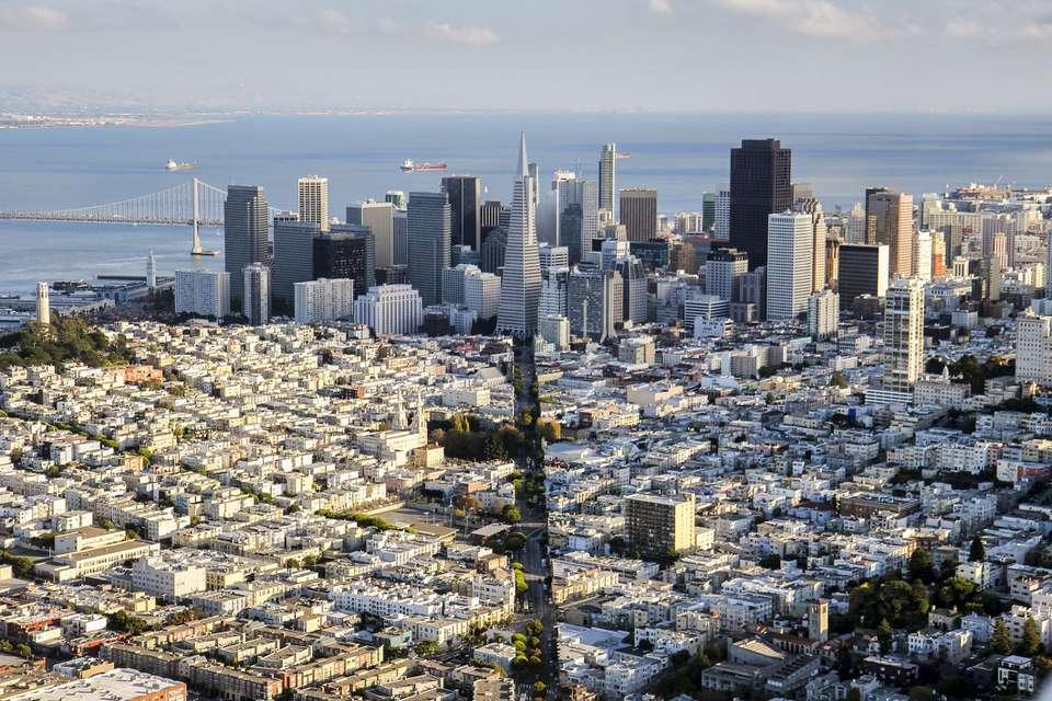 Columbus Ave & Downtown San Francisco aerial