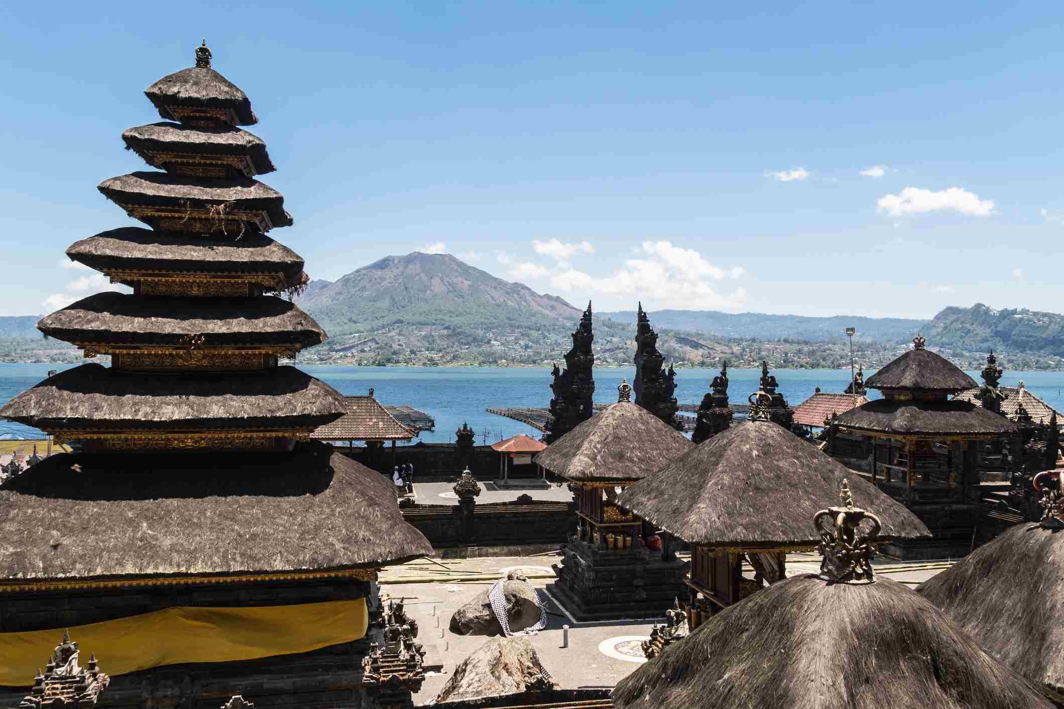 Balinese Hindu temple with Mt Batur in Bali, Indonesia