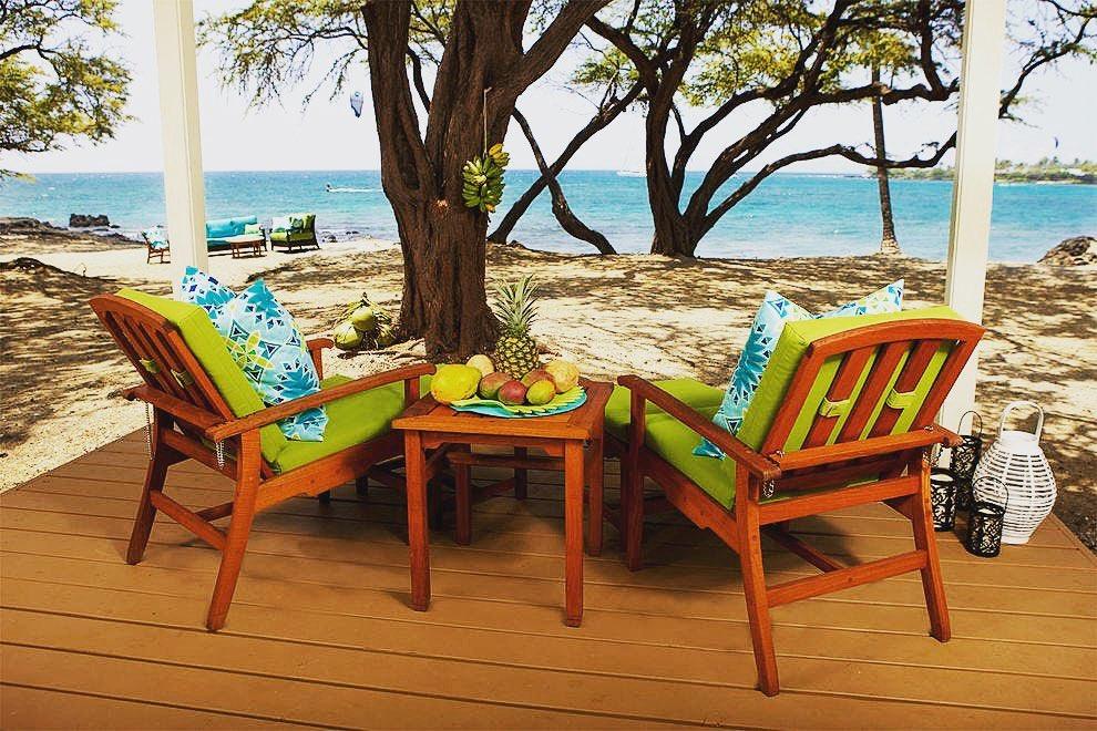 seats at the restaurant overlooking the ocean