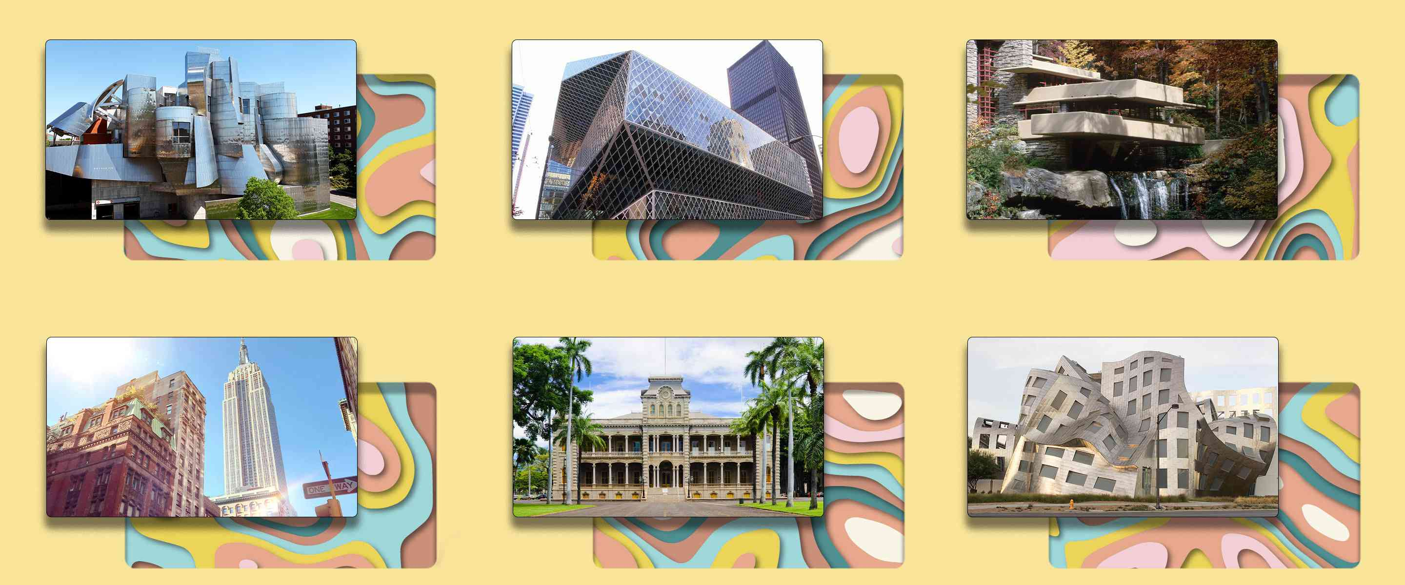 Collage of photos of some of the buildings mentioned in the article