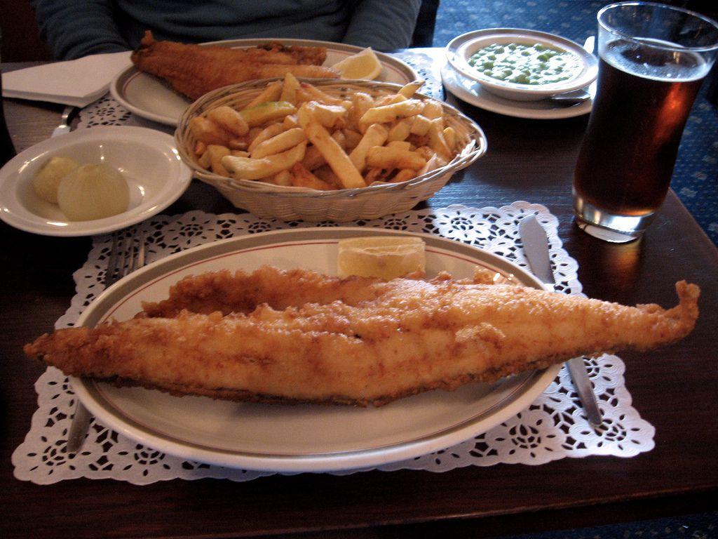 Haddock, chips, and mushy peas at the North Sea Fish Restaurant in London