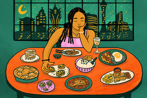 Illustration of writer sitting at a table filled with food with the Macao skyline behind her