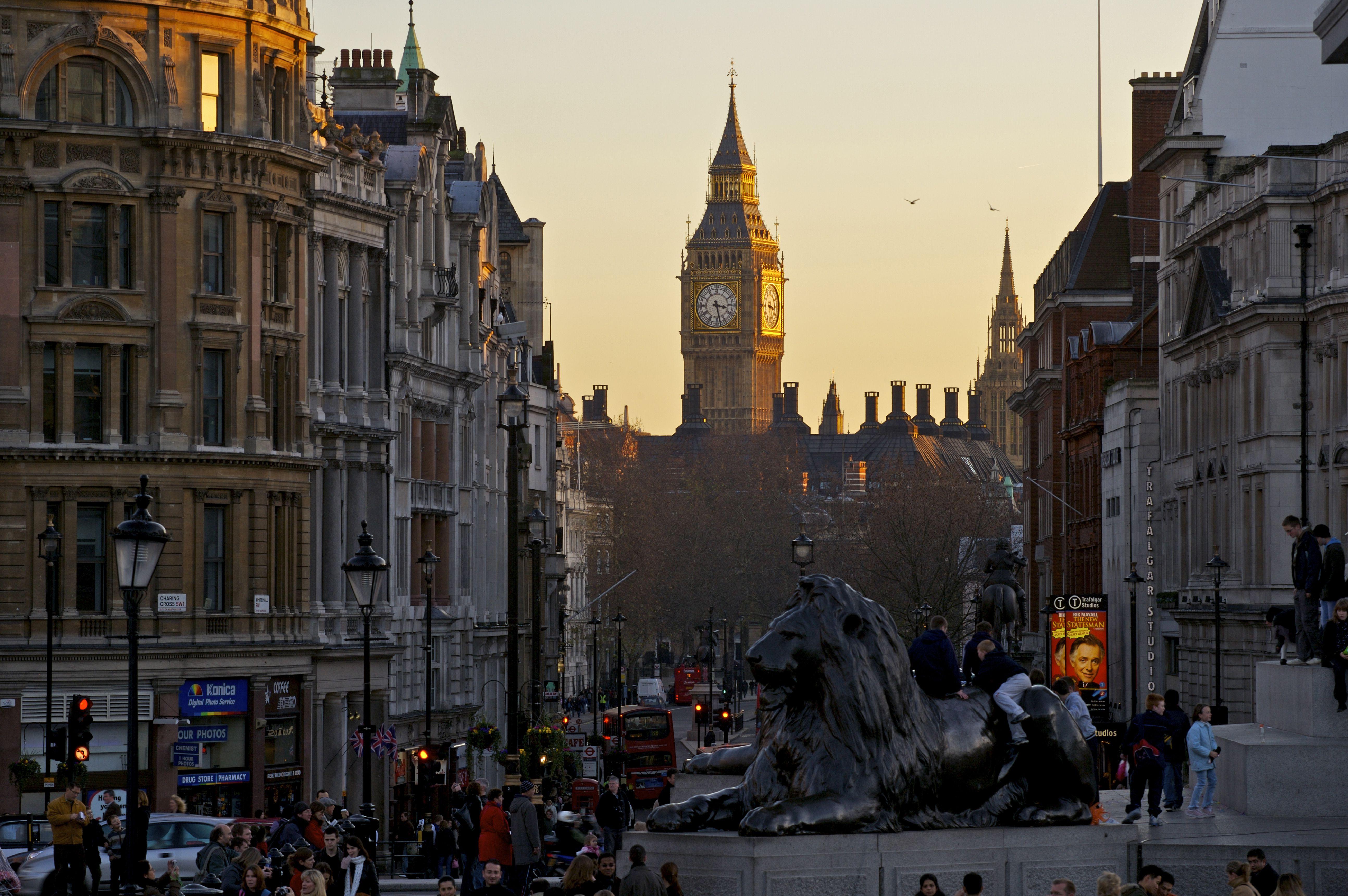 England, London, View from Trafalgar Square down Whitehall to Big Ben