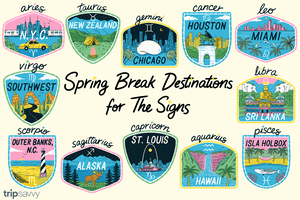 An illustration of different scenes for spring break destinations