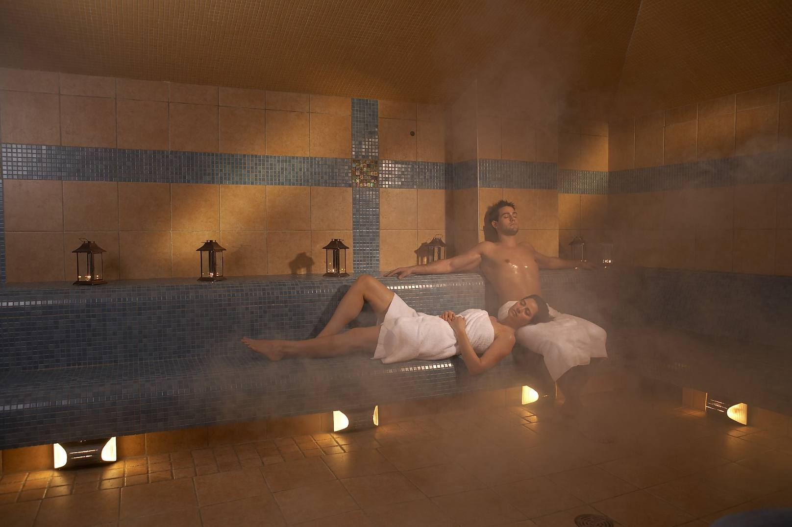 Couple enjoying the Hammam steam room at Rainspa