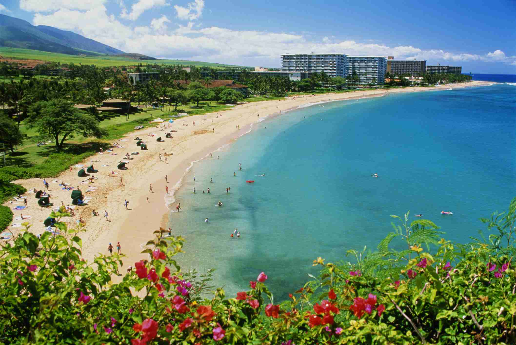 Ka'anapali Beach with hotels in the background.