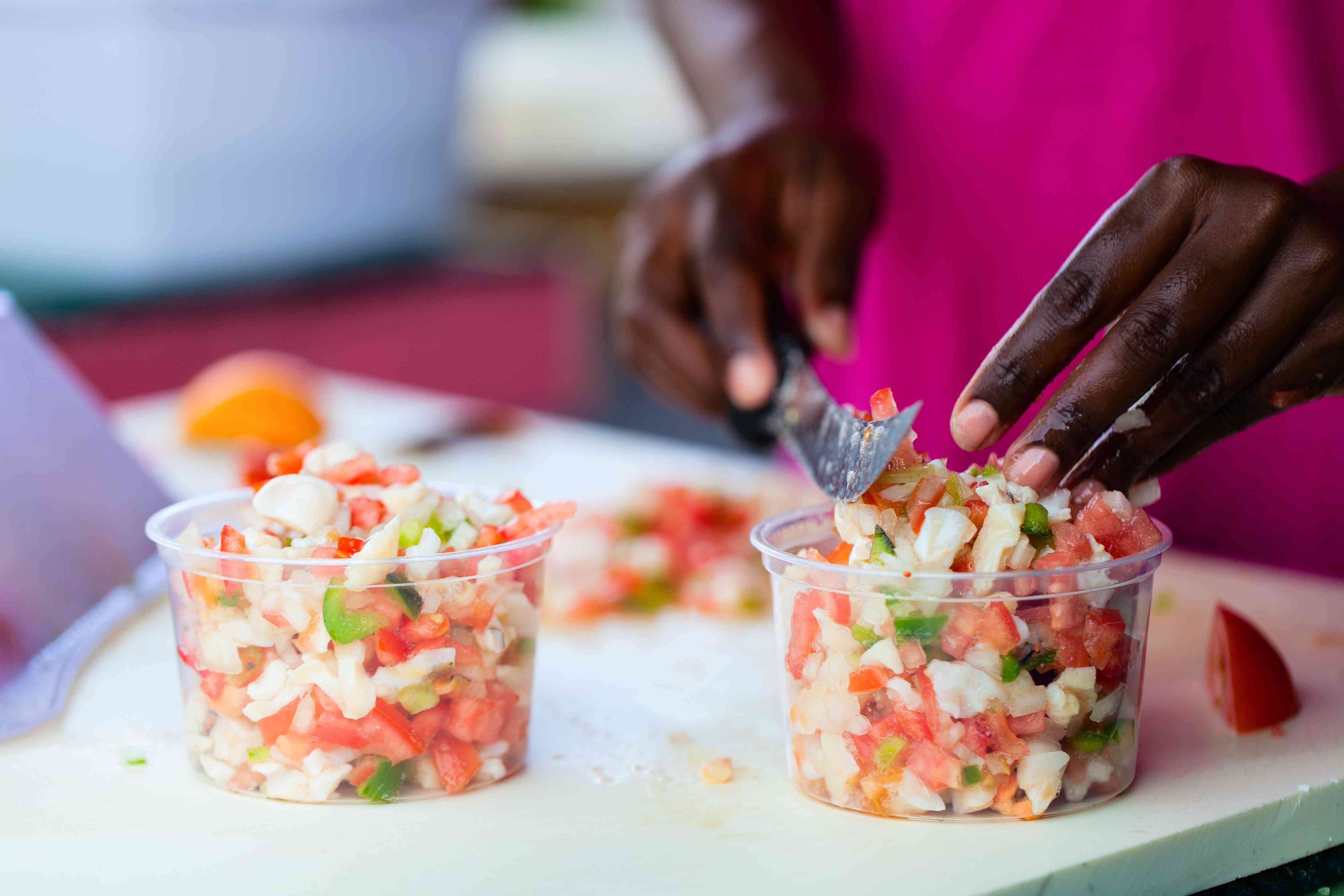 Bahamian conch salad being prepared