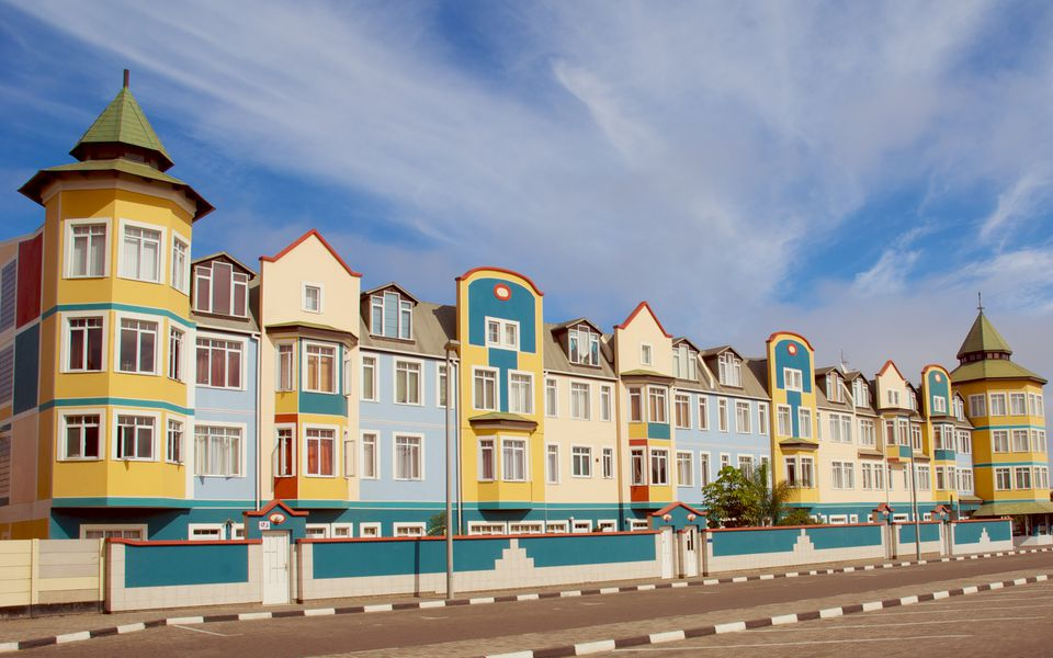 Colorful colonial homes in Swakopmund, Namibia