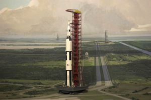Saturn Five, Apollo mission rocket on the launch pad at Cape Canaveral