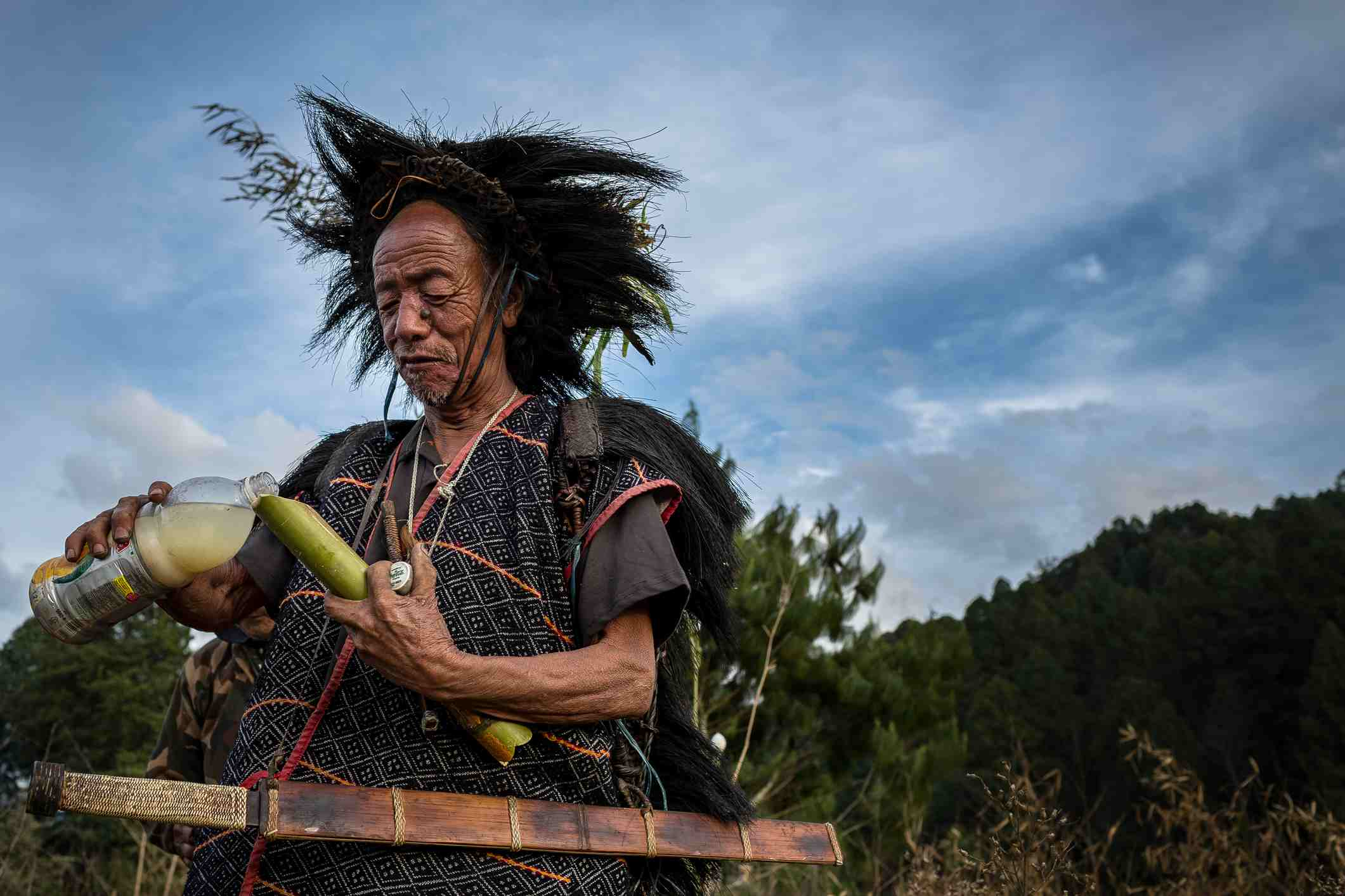 Apatani old shaman during a traditional ceremony.