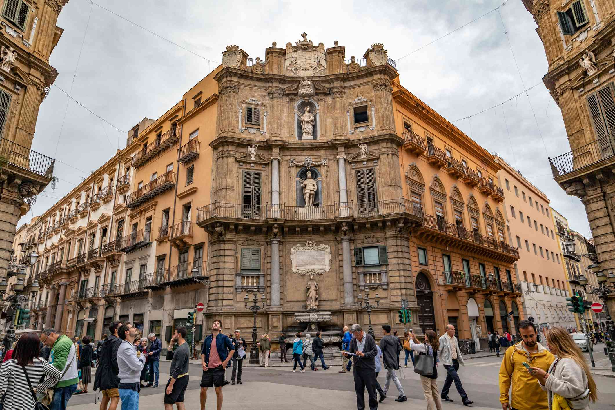 Quattro Canti junction of Via Maquade and Via V Emmanuele in Palermo, Sicily Italy