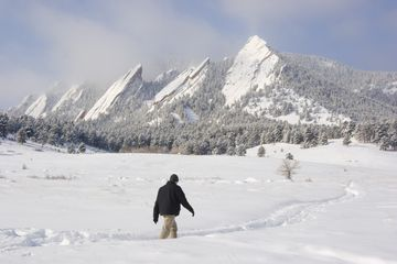 A man hiking in Boulder, Colorado.