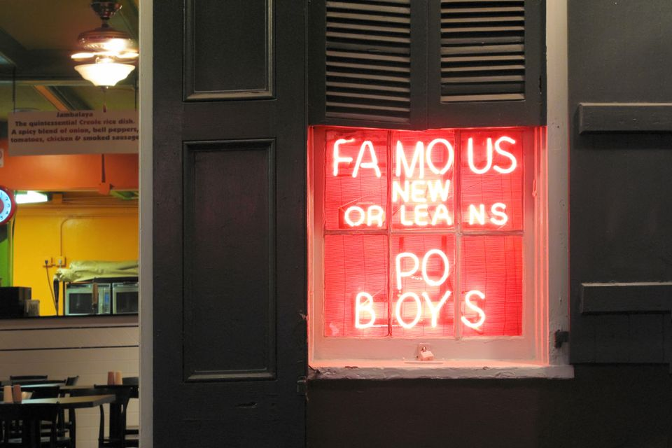 Sign for po boys in new orleans