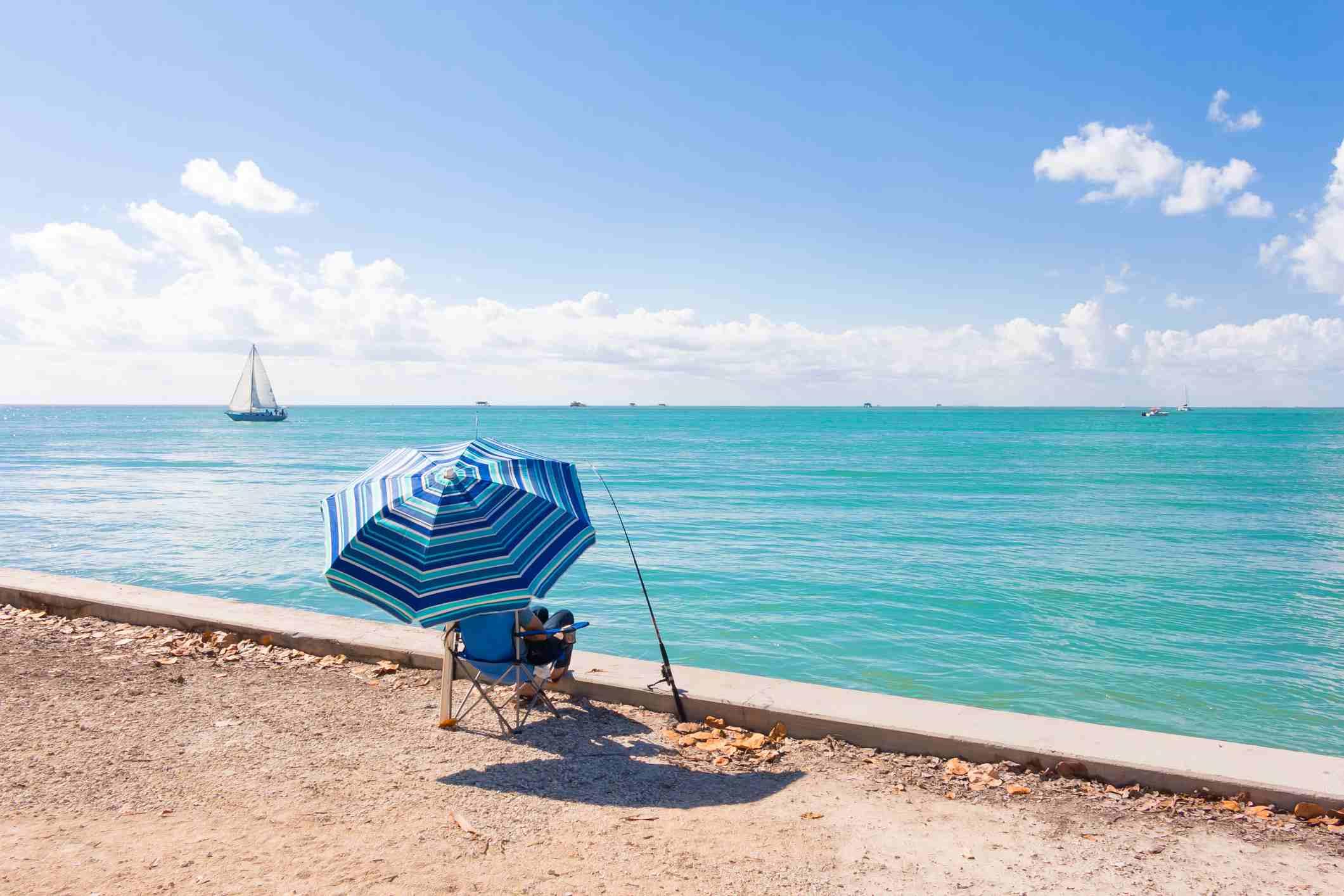 Man fishing in Key Biscayne, Florida