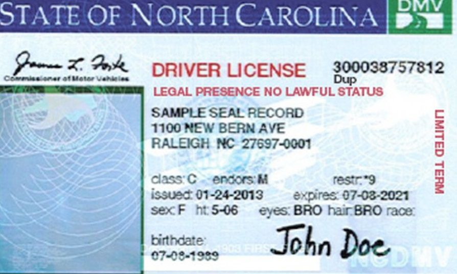 NC Drivers License