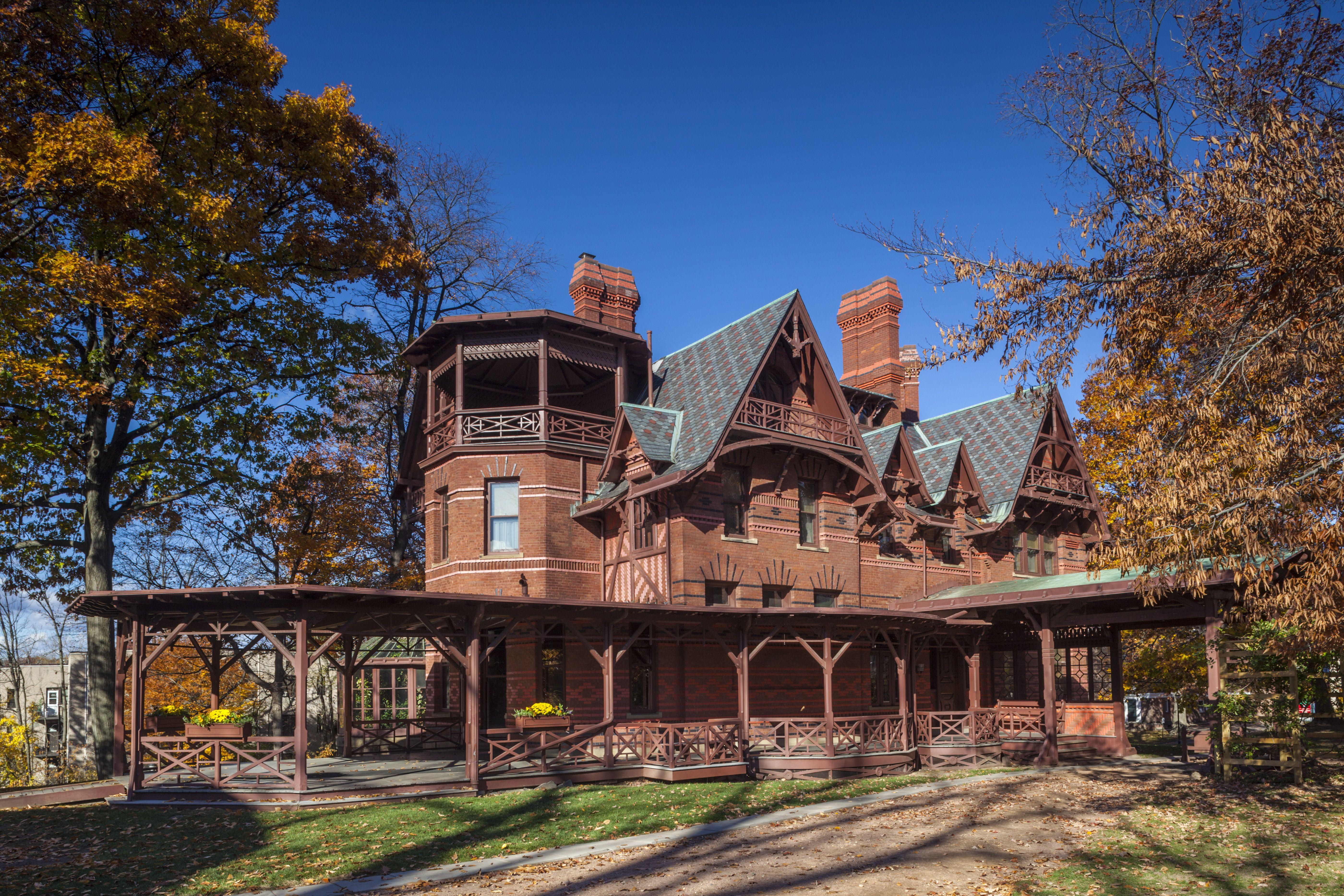 USA, Connecticut, Hartford, Mark Twain House, former home of celebrated American writer Mark Twain in autumn